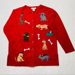 Bechamel Cardigan Red Dog Embroidered Petites PM